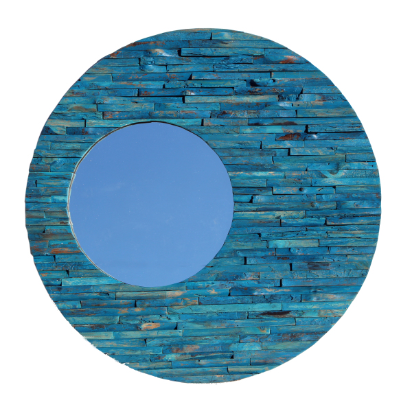 blue wood orbit mirror made with reclaimed wood