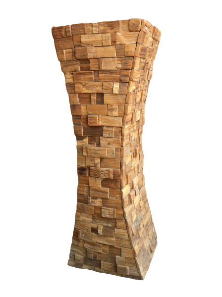 "40"" reclaimed wood mosaic tapered pedestal"