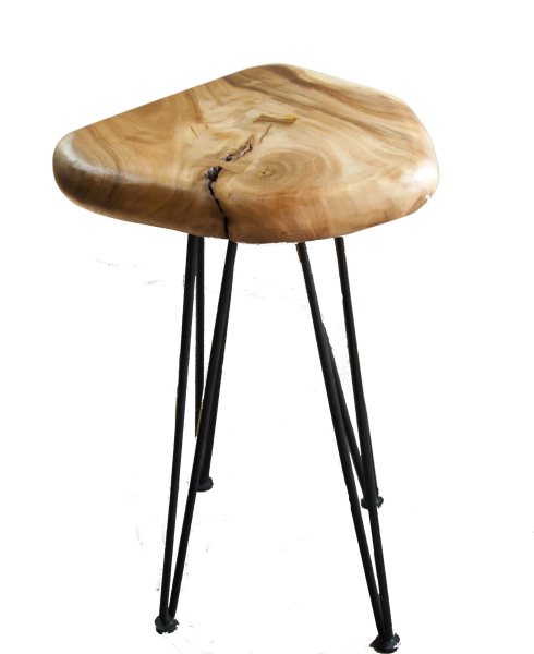 "27"" and 29"" natural wood pebble bar stool suitable as a plant stand"