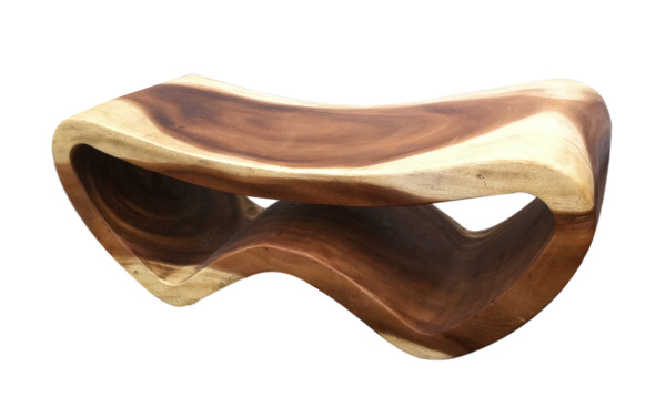 large peanut shaped seat made with solid exotic and sustainable acacia wood from asian art imports