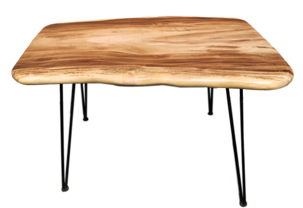 acacia pebble desk or table with metal legs