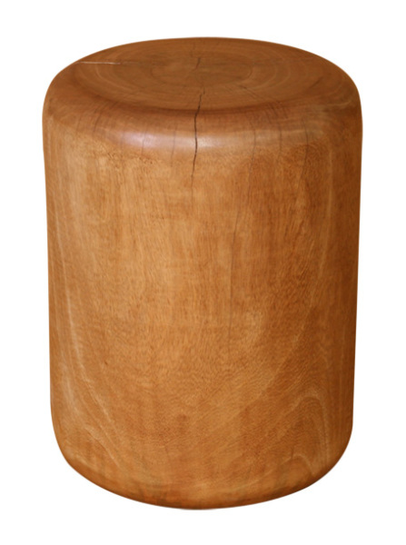 natural wood plug stool made with tropical hardwood