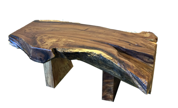thick natural wood bench or coffee table made with reclaimed wood
