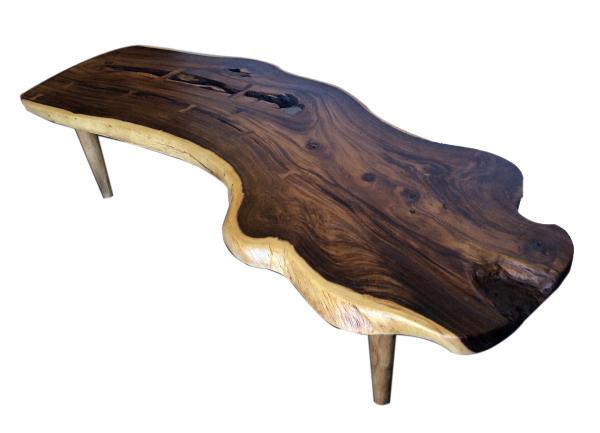 free edge coffee table made with acacia wood