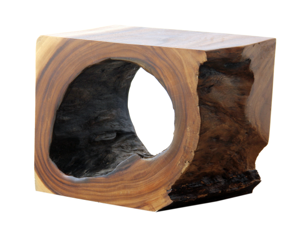natural wood end table or stool
