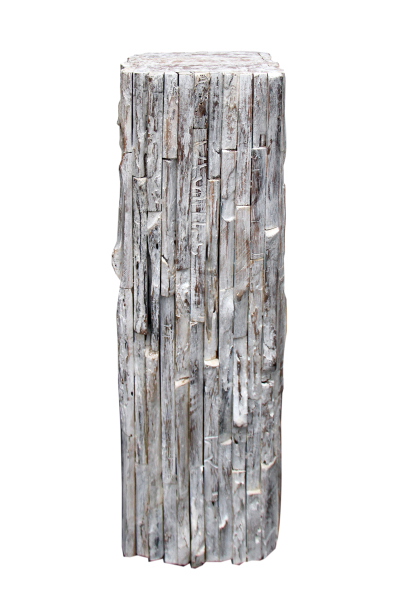 white reclaimed teak wood pedestal 26""