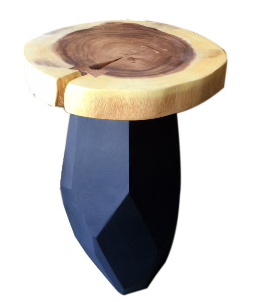 geo natural wood end or accent table