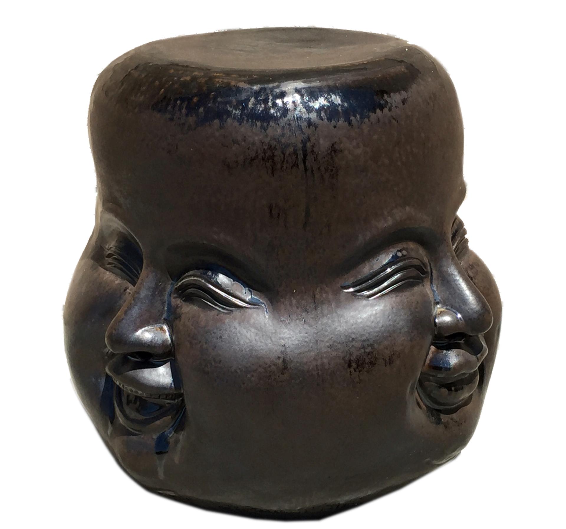 ceramic four face stool in dark color