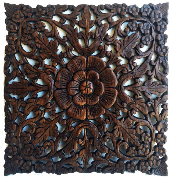 hand carved square teak panel