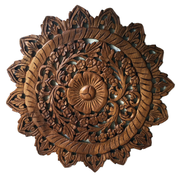 round hand carved teak panel asian art imports home decor