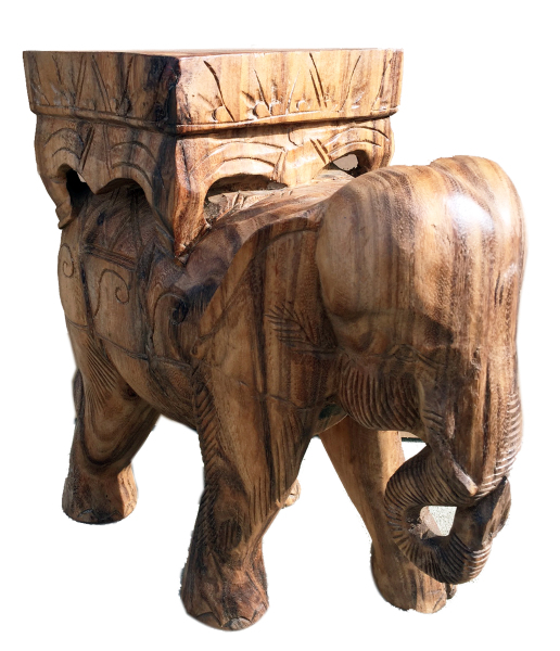 hand carved elephant stand or end table