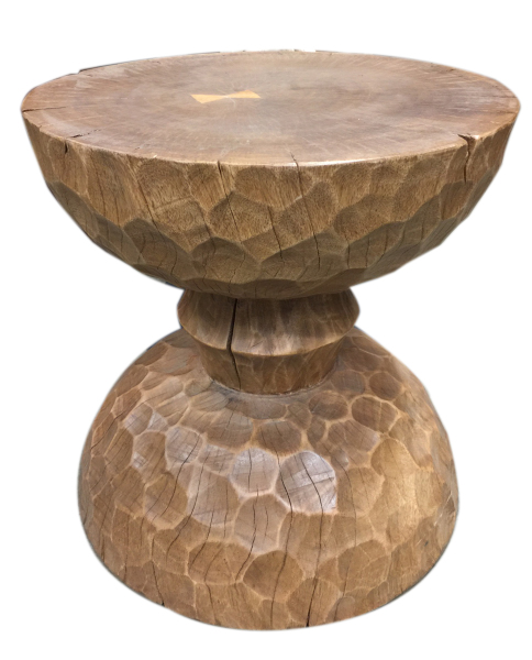 hour glass end table reclaimed tropical hardwood