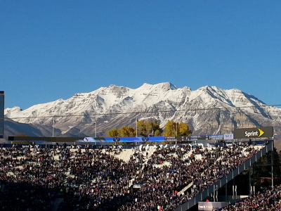 Mt Timp and BYU Football Stadium. Photo taken by the author.