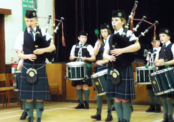 Pipers in action