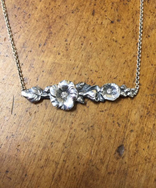 Flowers with Diamonds Bar Necklace