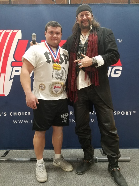 Me and Geno (Master of Ceremonies for USA Powerlifting)