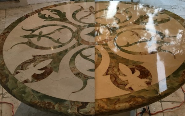 inlaid marble repair in Boca Raton Florida