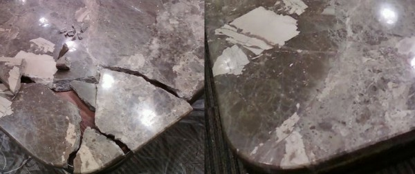 broken marble table, marble repair, how to repair marble table, Boca Raton Fl