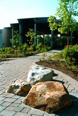 A garden entrance to an outdoor music venue