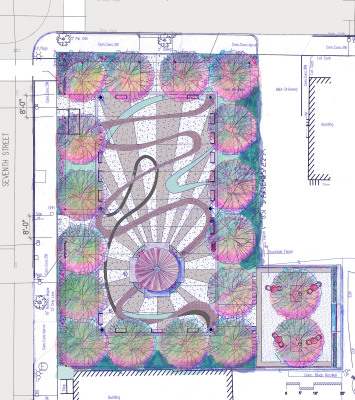 a rendered plan of a park with a central plaza that has complex paving pattern.