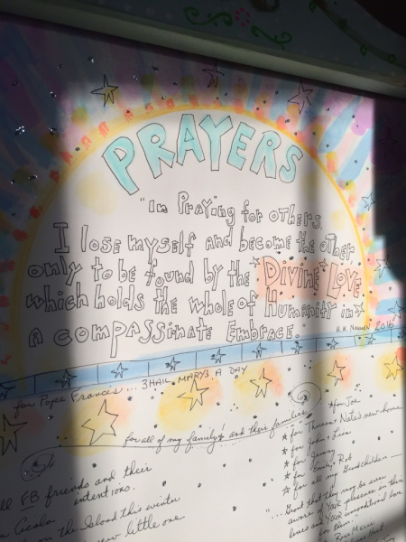 Sunshine on my prayer board