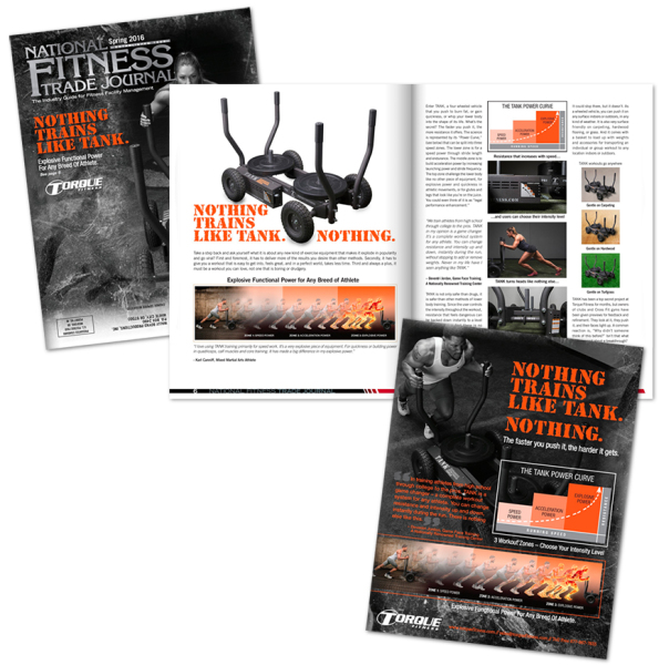 Torque Fitness Magazine ad by William Martin of WiM Designs