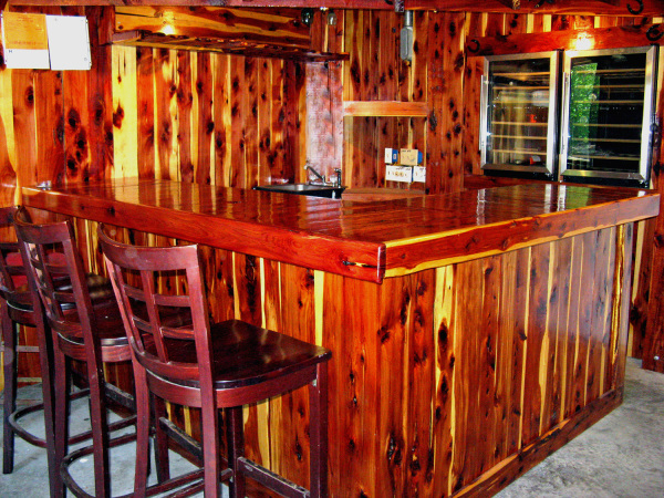 Hand carved red cedar bar.