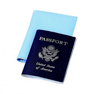 Baby Blue Leatherette Passport Cover