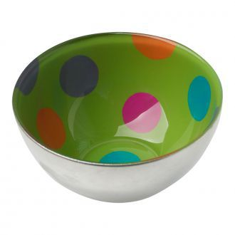 Pair Of Silver Glass Bowls w/ Green and Multi-colored Dots Inside