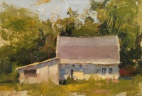 Stephanie Paige Thomson, Childhood Playground, Richmond Art Museum, Textured Paint, Palette Knife, Barn, Mule Shed, Oil Painting, Plein Air Painting, Quick Draw, Stephanie's Sketches