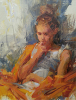 Stephanie Paige Thomson, Stephanie's Sketches, Alla Prima, Oil Painting, Figurative Art, Portraiture, Contemplation, Complementary Colors, Excited Brushwork, Centurion Linen, Rembrandt Oil Colors, Winsor and Newton Oil Paints, Rosemary Brushes