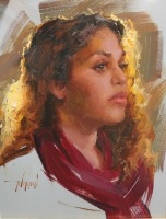 Stephanie Paige Thomson, Stephanie's Sketches, Chyna, Oil Portrait, Oil Painting, Alla Prima, Painted from Life, Backlit model, Warm Glow, Scottsale Artists' School