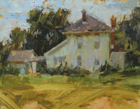 Stephanie Paige Thomson, Landscape Painting, Plein-Air, Outdoor Artist, White Building, Oil Painting