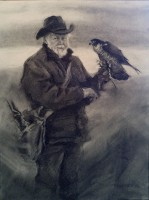 Stephanie Paige Thomson, Stephanie's Sketches, Charcoal Drawing, Portraiture, Figurative Drawing, Falconry, Falconer, Peregrine Falcon, Hunter