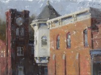 Stephanie Paige Thomson, Fine Artist, Plein Air Painting, New Harmony, Indiana, Hoosier Salon, Field to Finish, Award Winning Painting, Broken Color, Texture, Buildings, Oil Painting, Stephanie's Sketches
