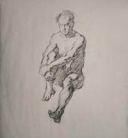 Stephanie Paige Thomson, Stephanie's Sketches, Gesture Drawing, Charcoal on Paper, Life Drawing, Quick Pose