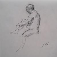 Stephanie Paige Thomson, Stephanie's Sketches, Charcoal on Paper, Newsprint, Gesture Drawing, Quick Pose