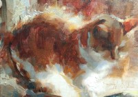 Stephanie Paige Thomson, Oil Painting, Stories, Hoosier Salon Gallery, Country Art, Fine Art, Barn Painting, Cat, Cat Art