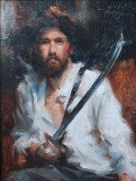 Stephanie Paige Thomson, Stephanie's Sketches, Swordsman, Oil Painting, Figurative Painting, Portraiture, Limited Palette