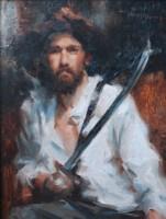 Stephanie Paige Thomson, Stephanie's Sketches, Swordsman, Oil Painting, Figurative Painting, Portraiture, Limited Palette