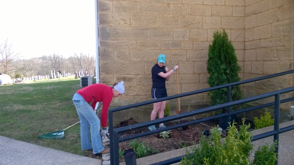 Lesley Hubert (left) and Zoe Roberson (right) are preparing to plant some bushes