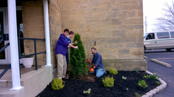 (left to right) Bobby Fowler, John Henry Fowler, and Stan Hubert fixing the location of the tree.