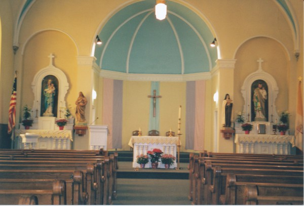 Interior of church decorated for Easter