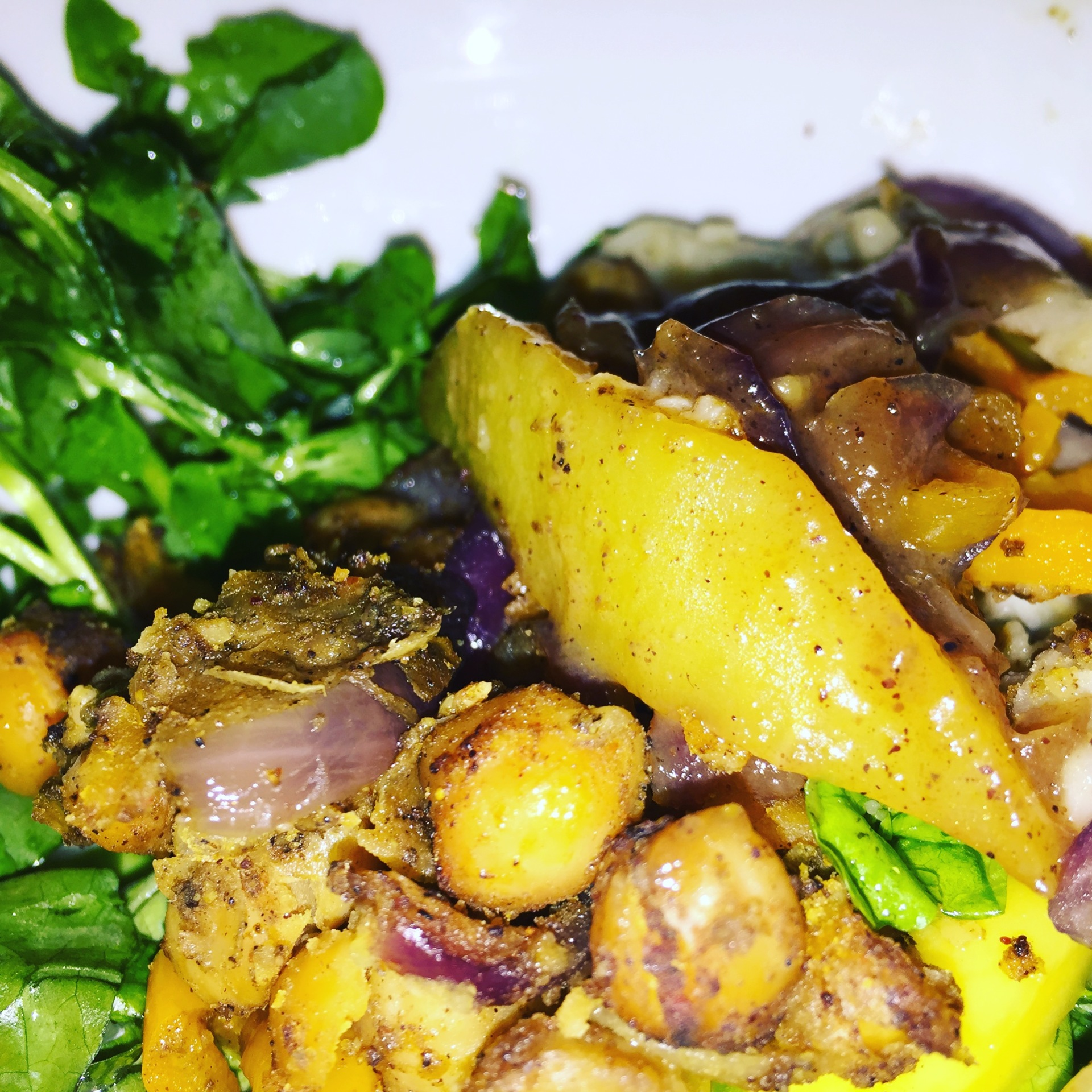 Watercress Salad with toasted cumin Chick Peas and sliced Mango