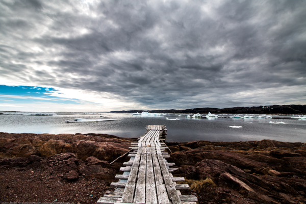 Ice, Water, Boardwalk, Grass, Clouds, White, Blue, Grey