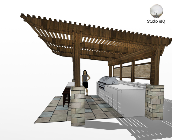 3-D rendering of an outdoor kitchen with pergola.