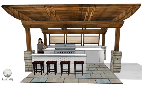 3-D rendering of an outdoor kitchen