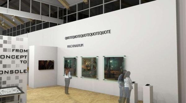 Exhibit design, gallery design, art gallery design, wayfinding, gallery focal wall, interior design, 3d rendering