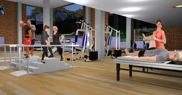Physical therapy, design, commercial interior design, medical interior design, health care design, biophelia, group therapy design
