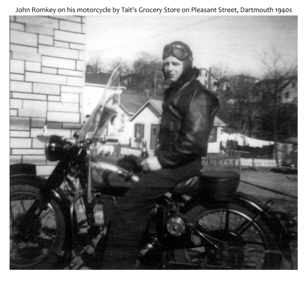 John Romkey on his motorcycle by Tait's Grocery Store, Pleasant St, Dartmouth 1940s
